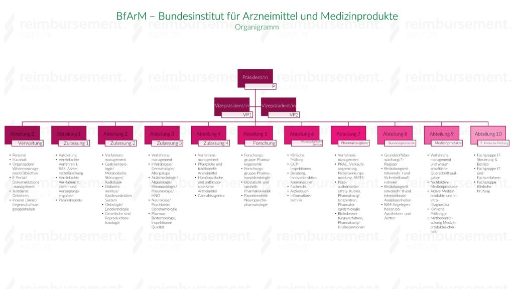 Organigramm des Bundesinstituts für Arzneimittel und Medizinprodukte (BfArM)