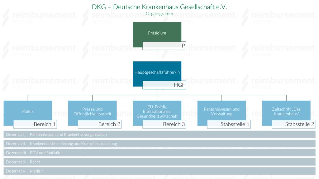 Darstellung des Organigramms der Deutschen Krankenhaus Gesellschaft e.V. (DKG)