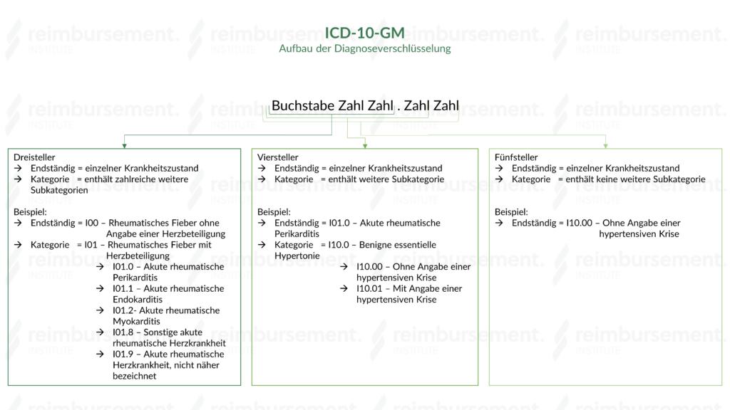 Darstellung des Aufbaus der ICD-10-GM-Verschlüsselung inkl. Erklärung zu Drei-, Vier- und Fünfsteller