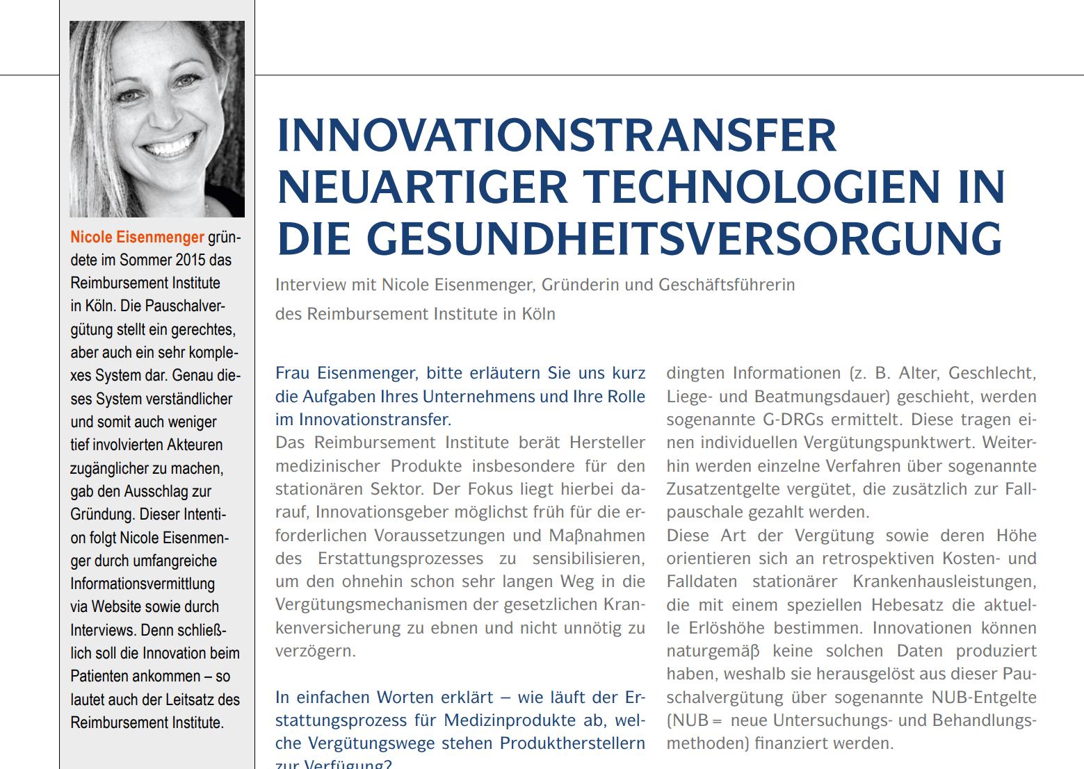"""Ein Beitrag des Reimbursement Institute zum Thema """"Innovationstransfer neuartiger Technologien in die Gesundheitsversorgung"""""""