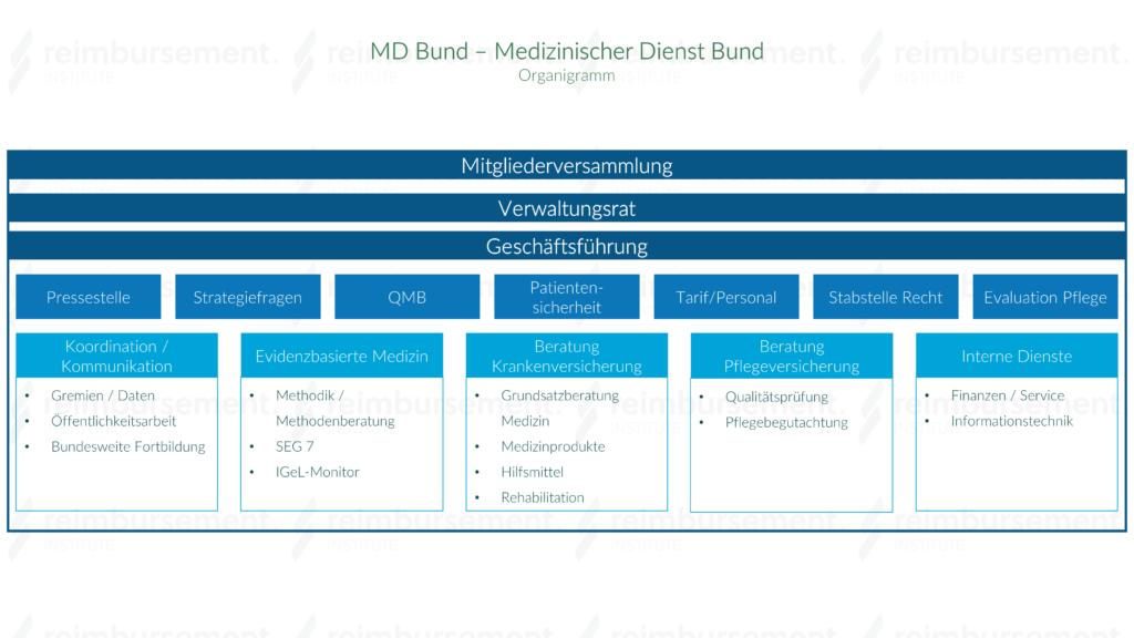 Darstellung des Organigramms des Medizinischen Dienstes Bund (MD Bund)