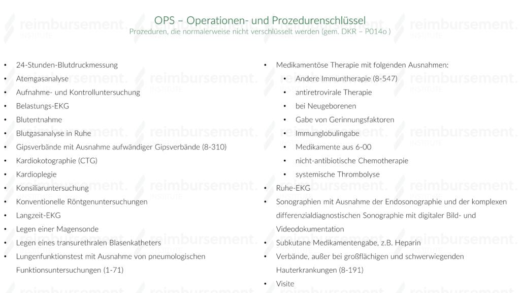 Auflistung der Prozeduren, die gemäß der Deutschen Kodierrichtlinien (DKR) nicht über einen OPS verschlüsselt werden